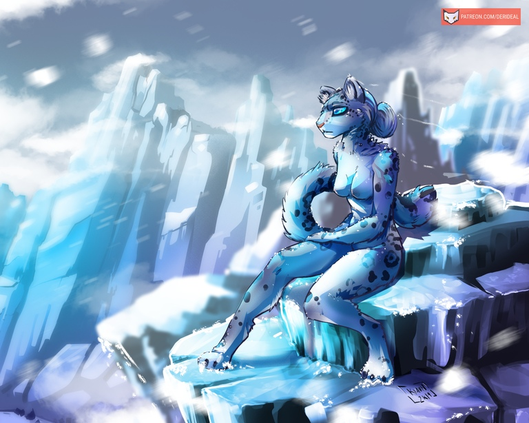 NSFW: Snow Leopard girl on the mountain 5:4