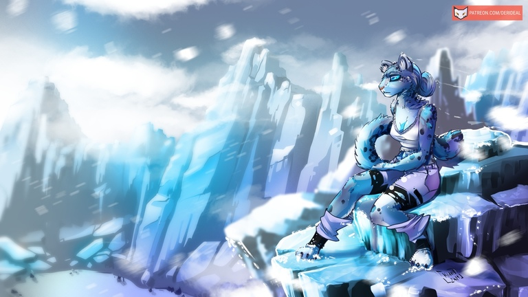 Snow Leopard girl on the mountain