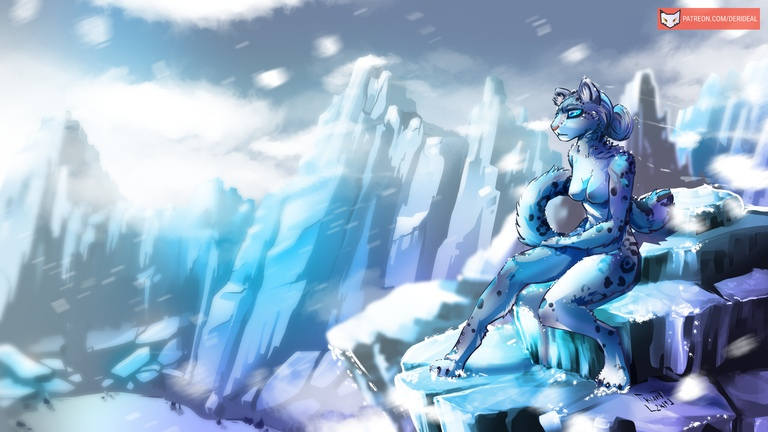 Snow Leopard girl on the mountain NSFW